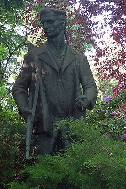 Statue of a revolutionary soldier, memorial to the German Revolution of 1918-1919 in Berlin.
