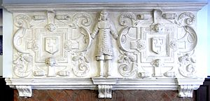 Bevil Grenville - plaster relief overmantel c. 1643 from no. 8A The Quay, Bideford, Devon. Popularly supposed to depict Sir Bevil Grenville (1596–1643). On either side of the figure within strapwork surrounds are escutcheons bearing the Grenville arms of Three clarions
