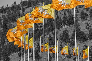 Flag of Bhutan - Bhutanese flags in Thimphu