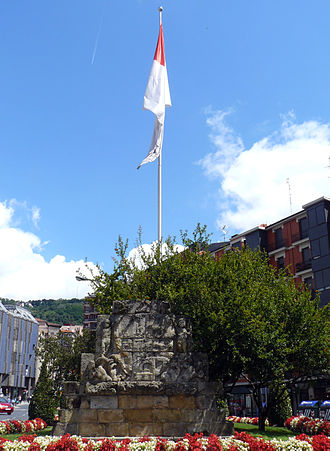 Bilbao - Flag and coat of arms of the village from 18th entury.
