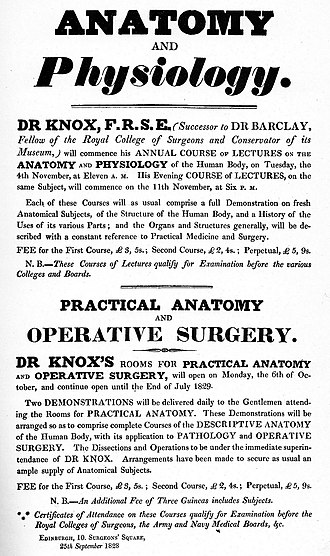 Robert Knox - Bill advertising Knox's anatomy lectures in 1828