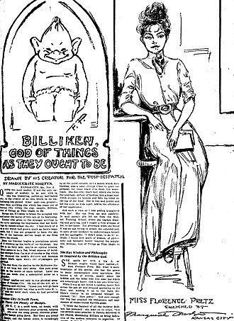 Billiken - From the St. Louis Post-Dispatch of November 7, 1909, the Billiken sketch at the left is by Florence Pretz and the drawing of Pretz is by journalist Marguerite Martyn.