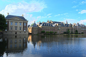 Prime Minister of the Netherlands - The Hague's Binnenhof. The Ministry of General Affairs is in the centre, with on the centre left a hexagonal tower, named Het Torentje, which is the office of the Prime Minister.