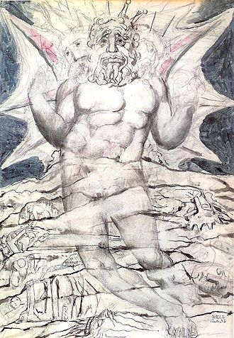 Devil in Christianity - William Blake's depiction of a scene featuring Lucifer from Canto XXXIV of Dante Alighieri's Divine Comedy