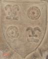 """Blason """"de ROGET"""" 1421 clef de voûte chapelle N-D église de Toulonjac 12.png"""