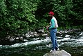 Blazers Buck Williams fishing Salmon River, Mt Hood National Forest (36201959191).jpg