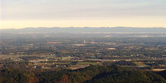 Foothills Parkway - Western Blount County, viewed from Look Rock. The Cumberland Plateau dominates the horizon.