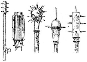 Morning star (weapon) - A morning star (middle) flanked by other club designs
