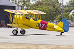 Boeing Stearman PT-17 Kaydet (VH-YSM) parked in the general aviation area at Wagga Wagga Airport.jpg