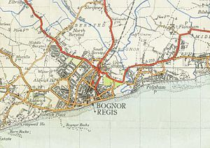 Felpham - A 1947 Ordnance Survey map, showing Bognor Regis with Felpham to the right