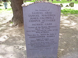 Crispus Attucks - Crispus Attucks' grave in the Granary Burying Ground