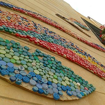 A detail of mosaic mural made of modern bottle screw tops. A high school in Jerusalem, Israel Bottlecap mosaic.jpg