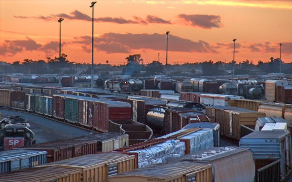Boxcars, Rialto, California, Sunset