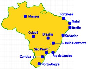 Este é o mapa das cidades sedes da Copa do Mun...