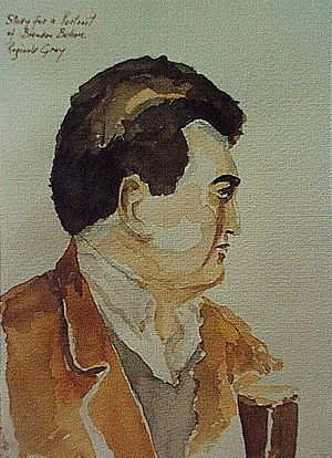 Brendan Behan -  Study from life of Brendan Behan by Reginald Gray, 1953. (Egg tempera on wood panel)