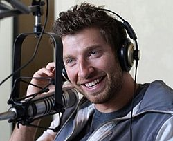 Brett Eldredge in a recording studio