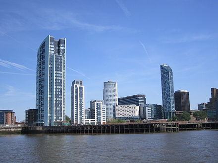 Apartment buildings within Liverpool's new commercial district Buildings near Princes Dock, Liverpool - from the Mersey Ferry.jpg