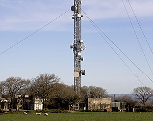 Huntshaw Cross transmitting station - Image: Buildings surrounding the base of the mast at Huntshaw Cross (geograph 4914925)
