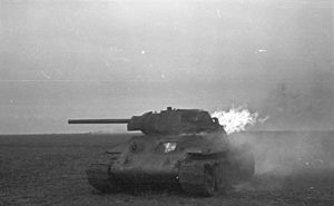 5th Mechanised Corps (Soviet Union) - A burning T-34 tank of the type used by the corps.