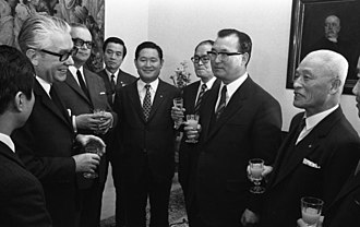 Kim Hong-il (general) - Kim (right) and other National Assembly members with President of the Bundestag Kai-Uwe von Hassel during a visit to West Germany in 1970