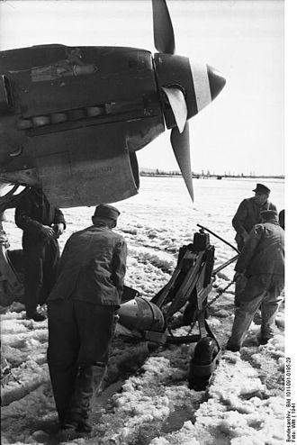 Sturzkampfgeschwader 1 - A Ju 87 rearmed. Waterlogged airfields posed practical problems for mechanics