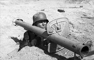 Panzerschreck - The improved Raketenpanzerbüchse 54 with blast shield.