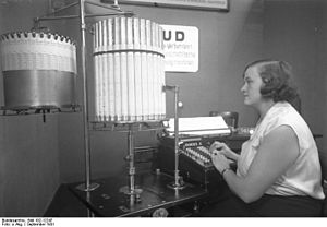 Weimar culture - An early calculator shown at an office technology exhibition, Berlin, 1931. It was promoted as costing 3500 marks.