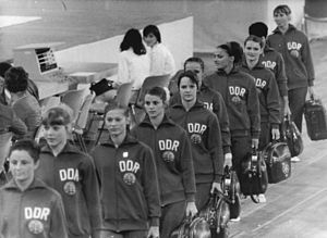 Irene Abel - Irene Abel (5th from left, looking at the camera) with the East German team at the 1972 Olympics