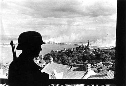 German sentinel in the citadel of Kiev on 19 September. Bundesarchiv Bild 183-L20208, Ukraine, Kiew, deutscher Wachposten auf der Zitadelle.jpg