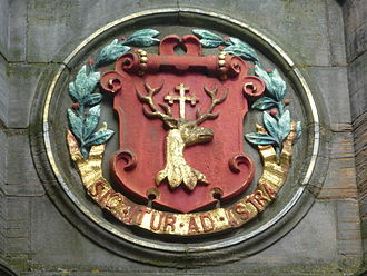 Arthur's Seat - Burgh arms of the Canongate on the mercat cross of Edinburgh