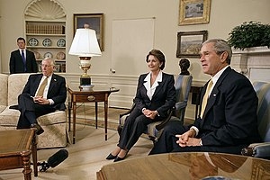 "United States House of Representatives elections, 2006 -  President Bush meets with Nancy Pelosi and Steny Hoyer (then House Minority Leader and Minority Whip, respectively) at the Oval Office in the White House. The President congratulated Pelosi and Hoyer on their newfound majority and vowed to work with them until his presidency is over. Regarding Pelosi's elevation to the Speaker of the House, Bush commented ""This is a historic moment""."