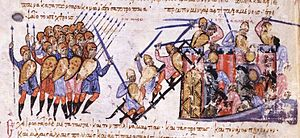 Nikephoros Phokas the Elder - Byzantine troops under Nikephoros Phokas capture the town of Amantia in Italy. Miniature from the Madrid Skylitzes