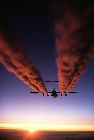 Pratt & Whitney - TF33s of a C-141 Starlifter leave contrails over Antarctica