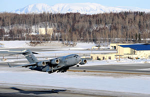 Elmendorf Air Force Base - A C-17 Globemaster III takes off from Elmendorf Air Force Base on 26 March 2010