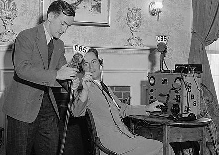 CBS News engineers prepare a remote: Justice Hugo Black's 1937 denial of Ku Klux Klan ties. CBSNewsRemote1937.jpg