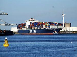 CMA CGM Parsifal p01 approaching Port of Rotterdam, Holland 01-Jan-2005.jpg