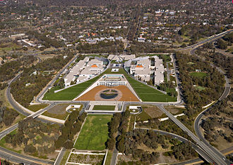 Parliament House, Canberra - Aerial view of Parliament House