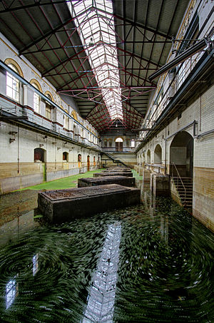 Pumping station - The now flooded C Station at Abbey Mills in London. The concrete platforms used to house large motor / pump assemblies that brought sewage up from a deep main drain into several outfall sewers, taking it away from the city centre.