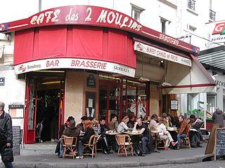 A Parisian café famous for its appearance in films, notably Amélie