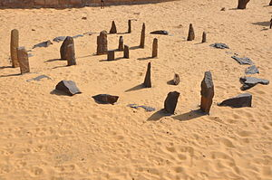 """Nabta Playa - Nabta Playa """"calendar circle"""", reconstructed at Aswan Nubia museum"""