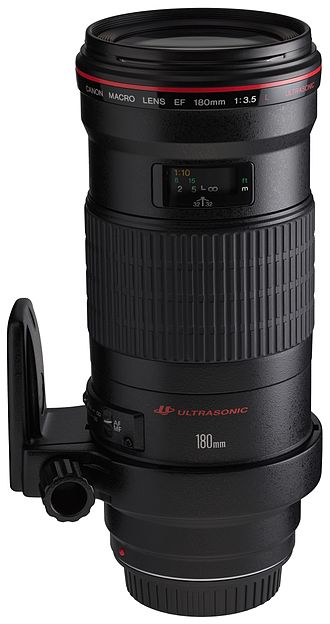 Canon EF 180mm f/3.5L Macro USM lens - Image: Canon EF 180mm f 3.5L Macro USM front angled with tripod ring rotated