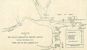 Battle of Canton (March 1841) - Map of the naval operations at Canton, 18 March