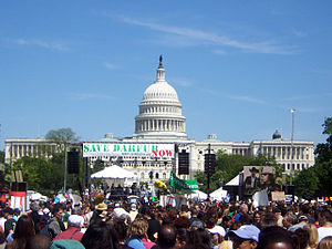 Political positions of Barack Obama - Image: Capitol Building and Darfur Rally