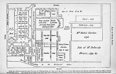 "William Capon's map of Parliament clearly labels the undercroft used by ""Guy Vaux"" to store the gunpowder. Capon map of parliament.jpg"