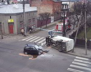 Car accident in Poland, city Żyrardów