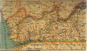 La province de Bas Congo en 1913 avec le Chemin de fer Matadi-Kinshasa avant la transformation et la première moitié du Chemin de fer de Mayumbé.