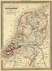 Map of the Netherlands in 1843 after independence of Belgium.