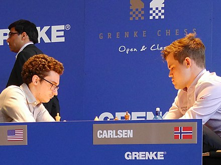 Carlsen facing Caruana at the 5th Grenke Chess Classic, 31 March 2018 Caruana-Carlsen 2018 Karlsruhe.jpg