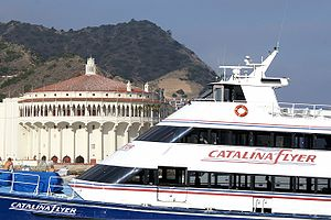 The Catalina Flyer, with the Catalina Casino in the background