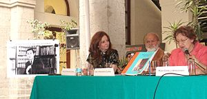 Constantino Reyes-Valerio - Event at which the Photographic Archive of INAH's Coordinacion de Monumentos Historicos was named after Constantino Reyes-Valerio. On the Photograph: Natalia Fiorentini, Carlos Navarrete and Rosa Camelo and a picture of Reyes-Valerio on the far left.
